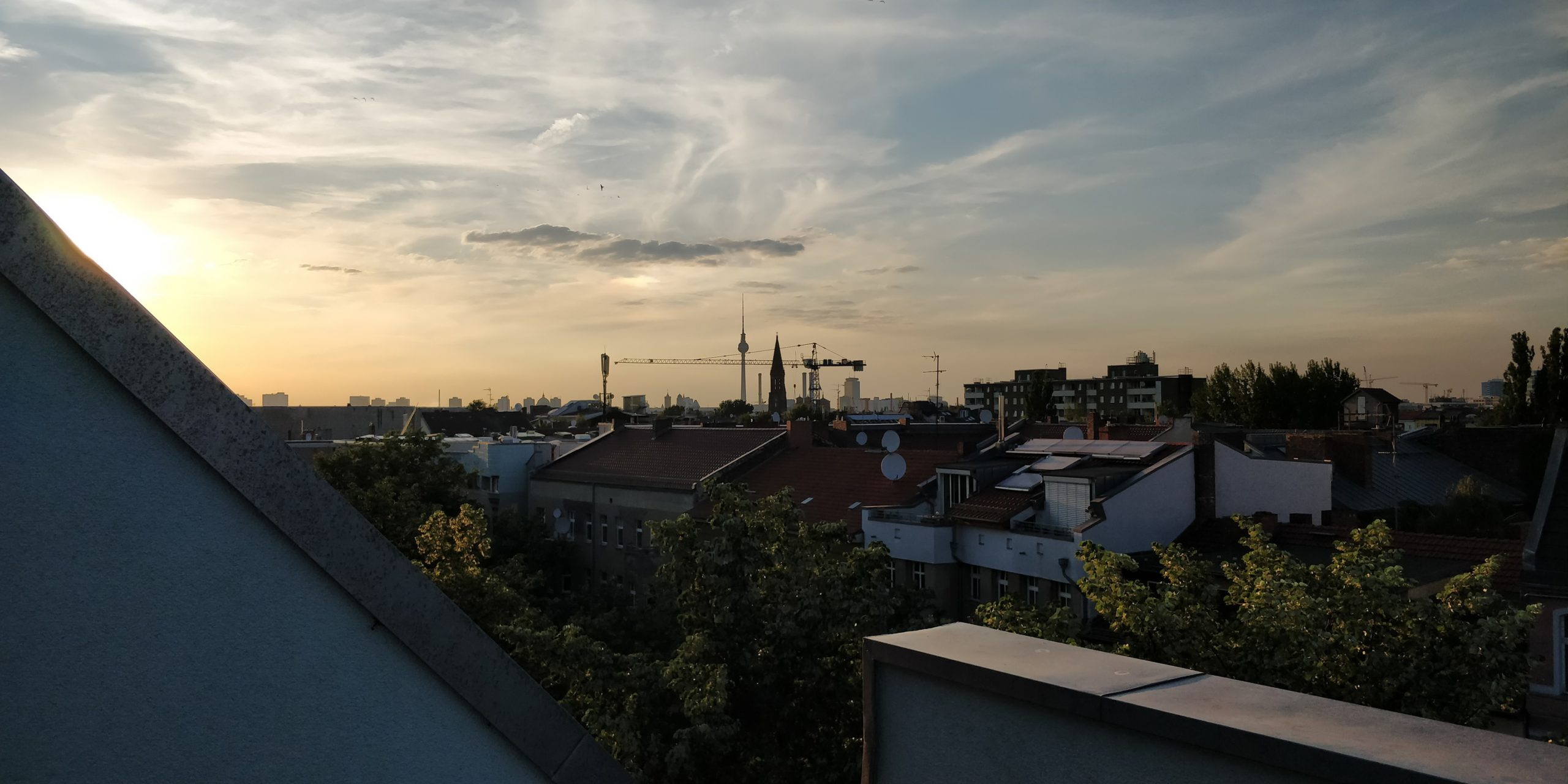 Sunset over rooftops of Berlin