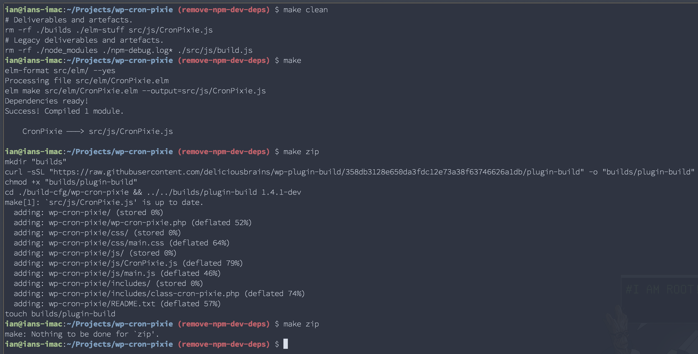 screenshot of make running in terminal